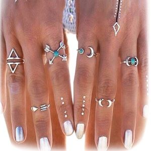 Jewelry - 🆕 Moon Star Boho Chic 6 Midi Knuckle Ring Set